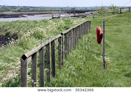 railings leading down to the river