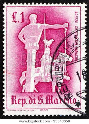 Postage stamp San Marino 1963 Jousting with Saracen, Arezzo
