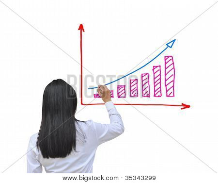 working women hand drawing business graph