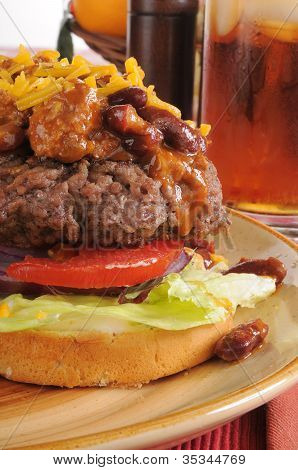 Chili Cheeseburger Closeup