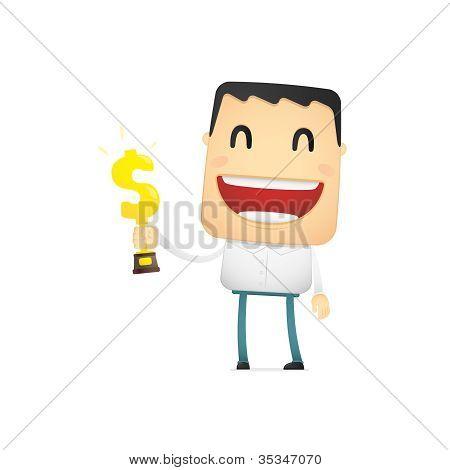 funny cartoon casual man