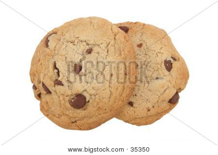 Chocolate Chip Cookies Isolated With Clipping Path
