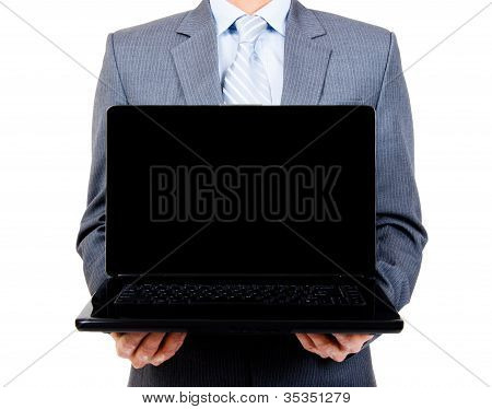 Business Man Holding Blank Laptop