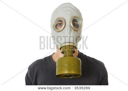 Man In Gas Mask On White