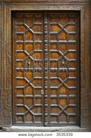 Antique Asiatic Solid Wood Door