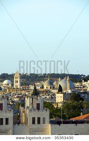 Rooftop  Jerusalem Palestine Israel Architecture With Mosque Temples Churches