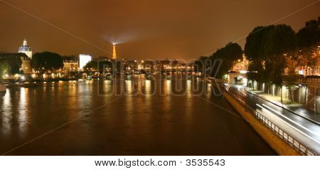 Seine River At Night Panorama
