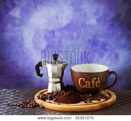 Moka And Coffee Cup
