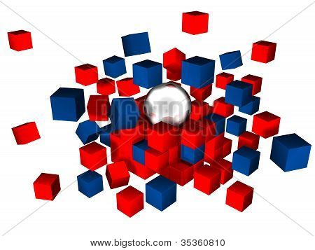 cubes and sphere
