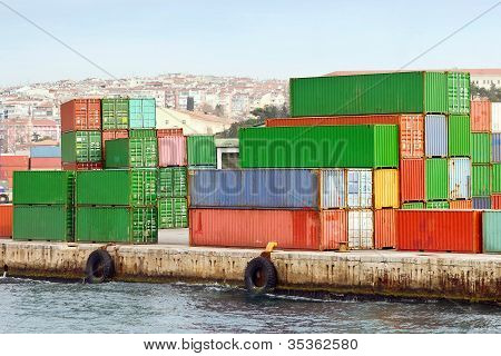 Container stacks in port
