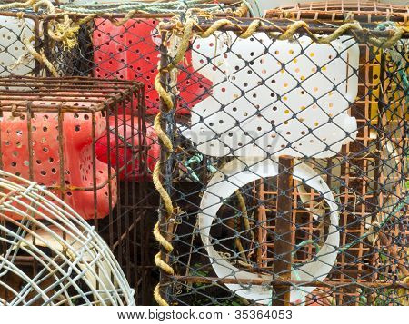 Stacked lobster basket traps to catch in the ocean