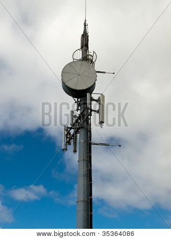 Tower with telecommunications antennas copyspace