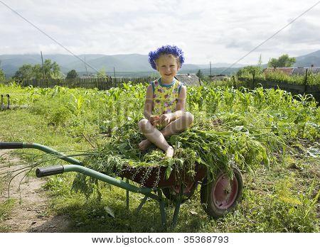 A Little Girl In A Wreath Of Cornflowers