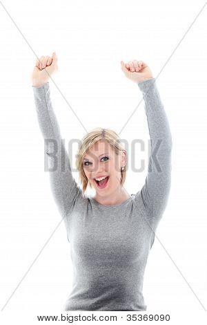 Woman Raising Her Arms In Celebration
