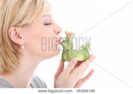 Woman Kissing Her Frog Prince