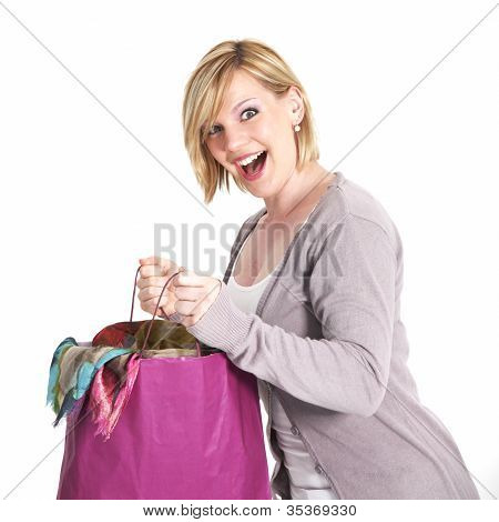 Ecstatic Shopaholic With Full Carrier Bag