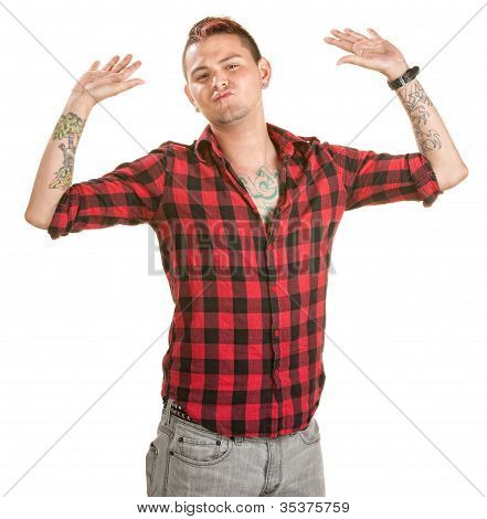 Frustrated Man With Hands Up