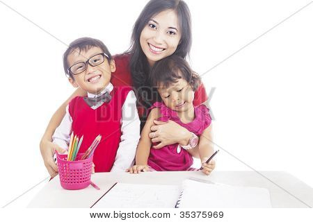 Pupils With Their Mother