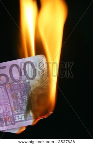 Euro Bill On Fire
