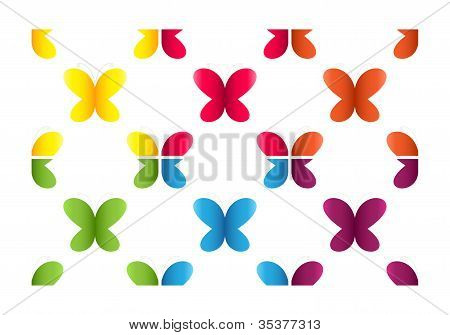 Set of semless patterns with butterflies