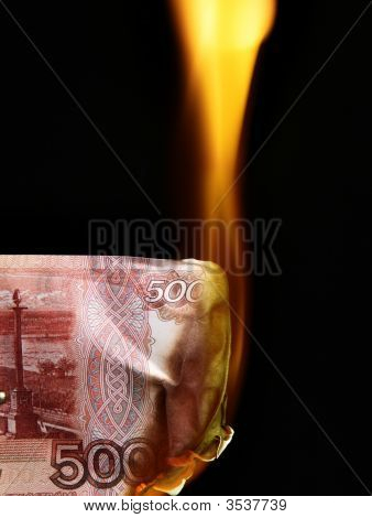 Russian Rubles Bills On Fire