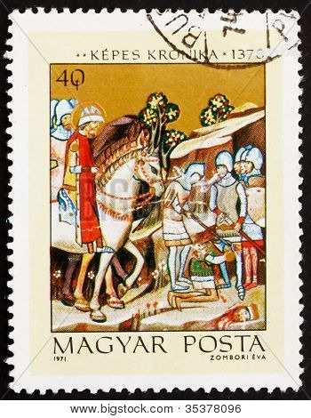 Postage stamp Hungary 1971 Beheading of Heathen Chief Koppany