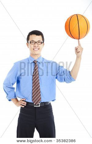 young businessman with basketball