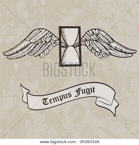 Tempus fugit. Passing time. Tattoo. Symbol. Hourglass