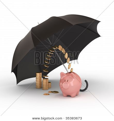 Piggy Bank Under Umbrella.