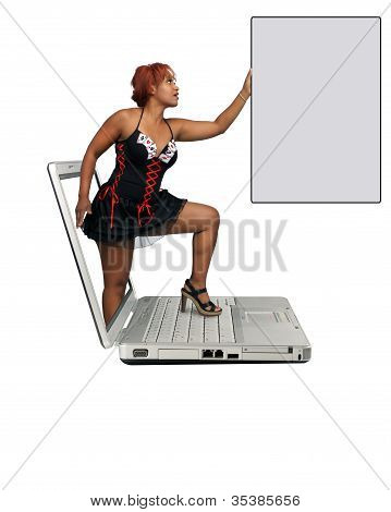 Beautiful Redhead Steps Out Of A Laptop
