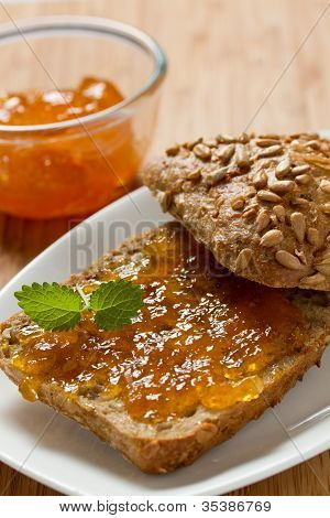 Apricot jam on the bread