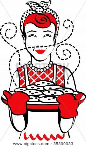 Mom Or Mother Holding Tray Of Cookies Clip Art
