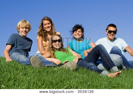 Group Of Teen Friends Hanging Out