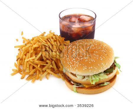 French Fries, Hamburger And Cola