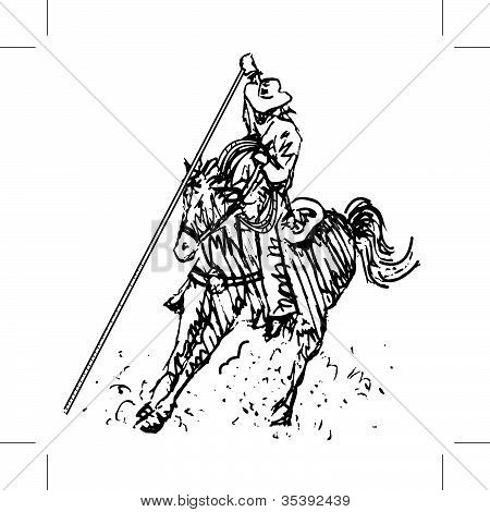 Rodeo Roper Line Art Black And White