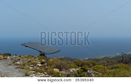 One Solar Battery Panel On The Mountain Steep