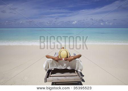 Lounge chair on beach