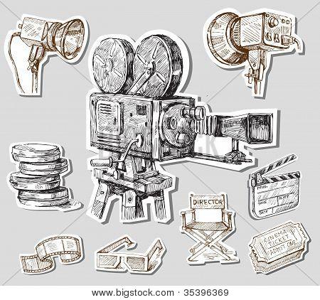 movie camera-hand drawn