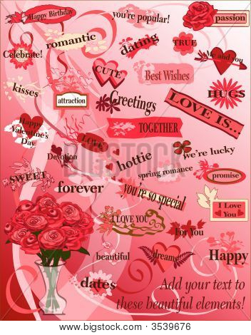 Vector Design Elements Hearts And Flowers