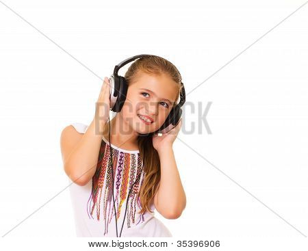 Girl listening to music.