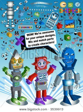 Vector Cartoon Designs Of Robots