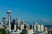 picture of view from space needle  - Downtown Seattle with a view of the Space Needle Mount Rainier and a nearly full moon - JPG