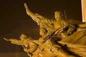 pic of zedong  - Mao Zedong Statue with Heroes Zhongshan Square Shenyang Liaoning Province China at Night - JPG