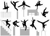 picture of parkour  - Set of editable vector silhouettes of a man doing parkour - JPG