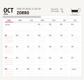 picture of zorro  - Set of calendar with espresso and coffee design for year 2014 - JPG
