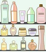 picture of mud pack  - vector illustration of various cosmetics in bathroom - JPG