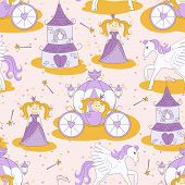 Seamless pattern with a princess