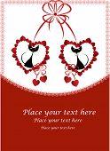 Постер, плакат: Влюблённые Чёрные кошки в сердцах