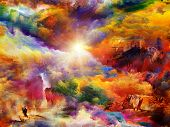 image of daydreaming  - Interplay of dreamy forms and colors on the subject of dream imagination fantasy and abstract art - JPG