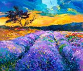 picture of fascinator  - Original oil painting of lavender fields on canvas - JPG